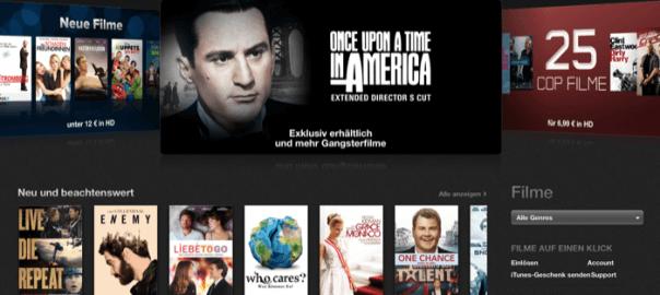 Die Startseite der iTunes Online-Videothek